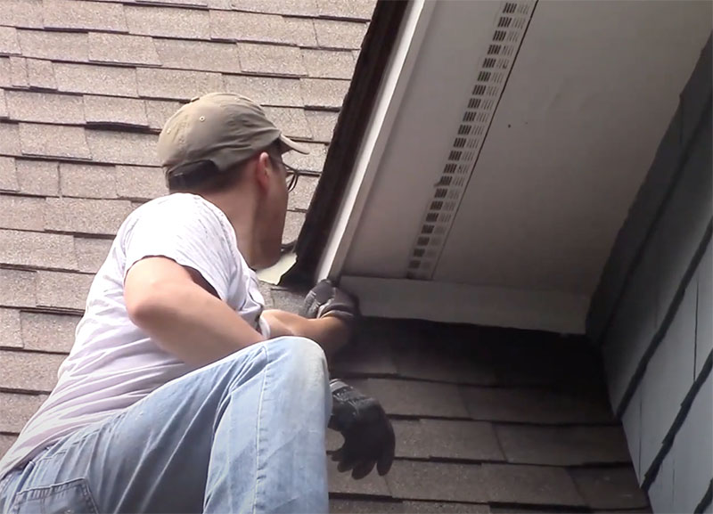 Neil Tregger of Hudson Valley Wildlife fixes flying squirrel damage on roof